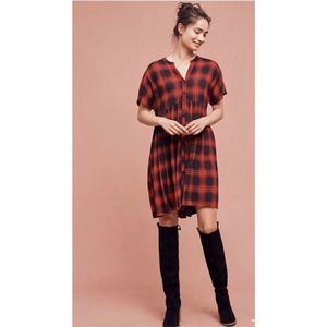 Anthropologie Mona plaid shirt dress red XS